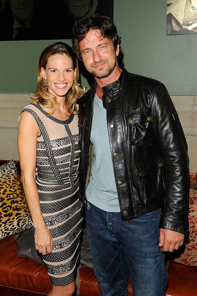 """<a href=""""http://movies.yahoo.com/movie/contributor/1800020739"""">Hilary Swank</a> and <a href=""""http://movies.yahoo.com/movie/contributor/1803248911"""">Gerard Butler</a> at the New York Cinema Society screening of <a href=""""http://movies.yahoo.com/movie/1810071450/info"""">Conviction</a> on October 12, 2010."""
