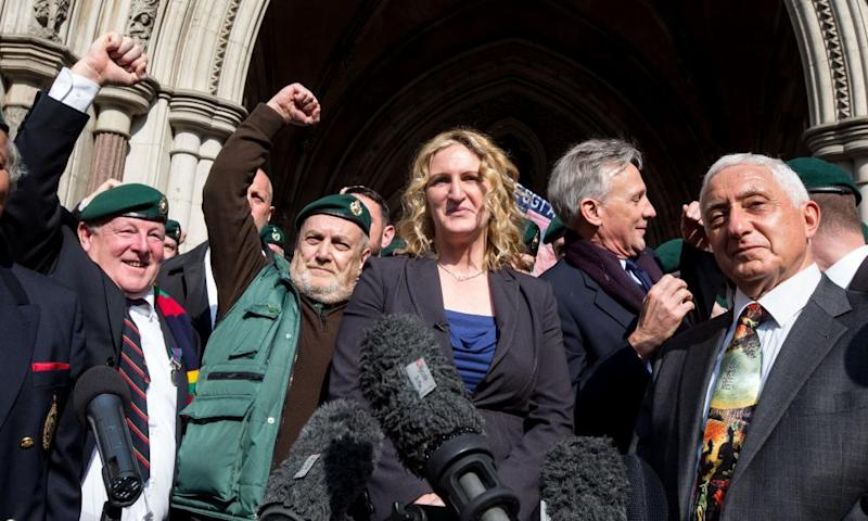 Alexander Blackman's wife Claire and his supporters outside court.