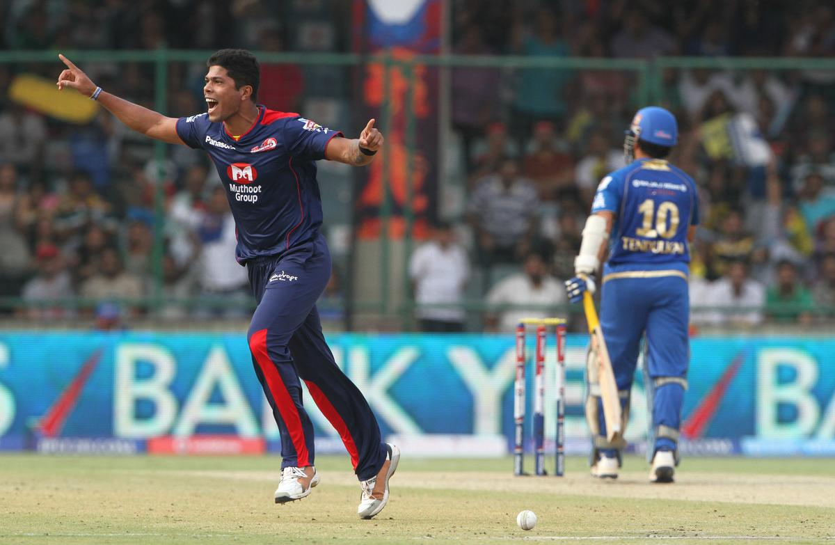 Delhi Daredevils player Umesh Yadav celebrates the wicket of Mumbai Indian player Dinesh Karthik during match 28 of the Pepsi Indian Premier League between The Delhi Daredevils and the Mumbai Indians  held at the Feroz Shah Kotla Stadium, Delhi on the 21st April 2013. (BCCI)