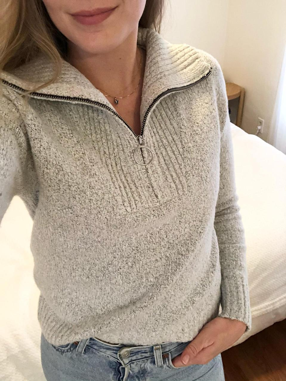 "<p><strong>The Style:</strong> <span>Old Navy Mock-Neck 1/4-Zip Sweater</span> ($40, originally $45)</p> <p><strong>The Review:</strong> ""I own more classic crewneck sweaters than I can even count, but this season I wanted to try something a little more versatile. The design is easy to wear with jeans when I leave the house, or pair with my sweats when I'm lounging at home. No matter how I style it, I just can't get over how soft and cozy it is."" - Krista Jones, associate editor, Shop</p>"