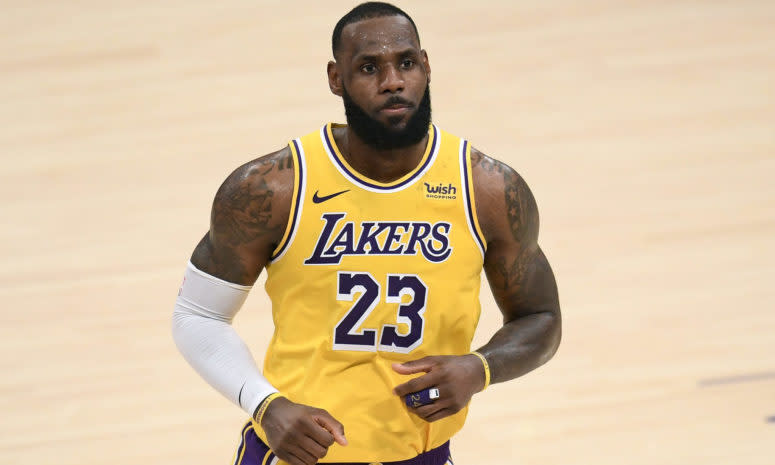 LeBron on the court for the Lakers.