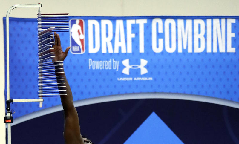 Jaylen Hoard participates during the second day of the NBA draft basketball combine in Chicago, Friday, May 17, 2019. (AP Photo/Nam Y. Huh)