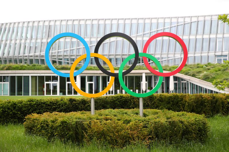 FILE PHOTO: The Olympic rings are pictured in front of the IOC in Lausanne