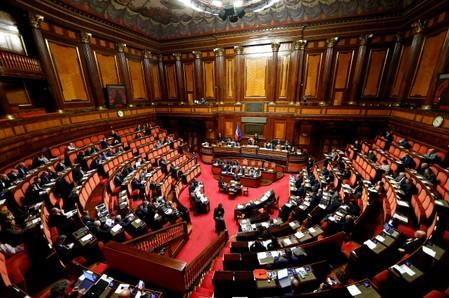 FILE PHOTO: A general view shows the upper house of the Italian parliament, in Rome