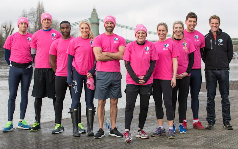 Team Cracknell, from left: Andrew Triggs-Hodge, Vernon Kay, Ore Oduba, Emma Spruce, Gethin Jones, Zoe Lyons, Sophie Raworth, Rebecca Adlington, James Fox, and James Cracknell - Credit: PH