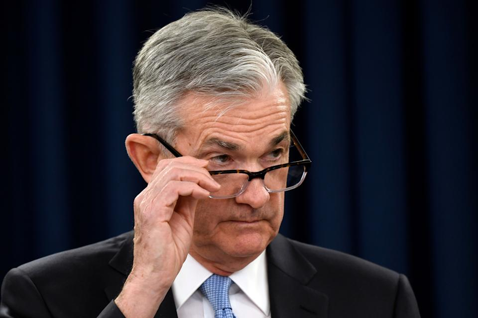 In this March 20, 2019, file photo Federal Reserve Chair Jerome Powell listens to a reporter's question during a news conference in Washington. (AP Photo/Susan Walsh, File)