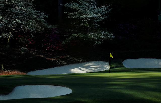 "The 12th hole is shown at ""Amen Corner,"" where golfers turn the corner on the 11th, 12th and 13th holes, at the Masters golf tournament at the Augusta National Golf Club in Augusta, Georgia, April 6, 2018. REUTERS/Jonathan Ernst"