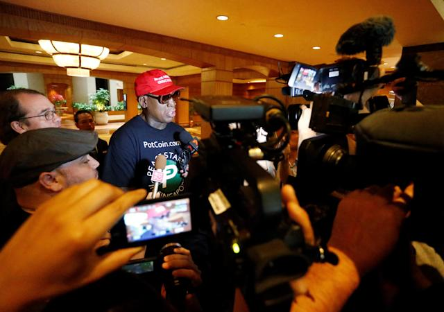 Former U.S. basketball star Dennis Rodman makes an appearance at Regent Hotel in Singapore on June 12, 2018. (Photo: Feline Lim/Reuters)