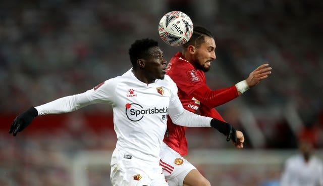 Ismaila Sarr, left, showed glimpses of his ability in Manchester