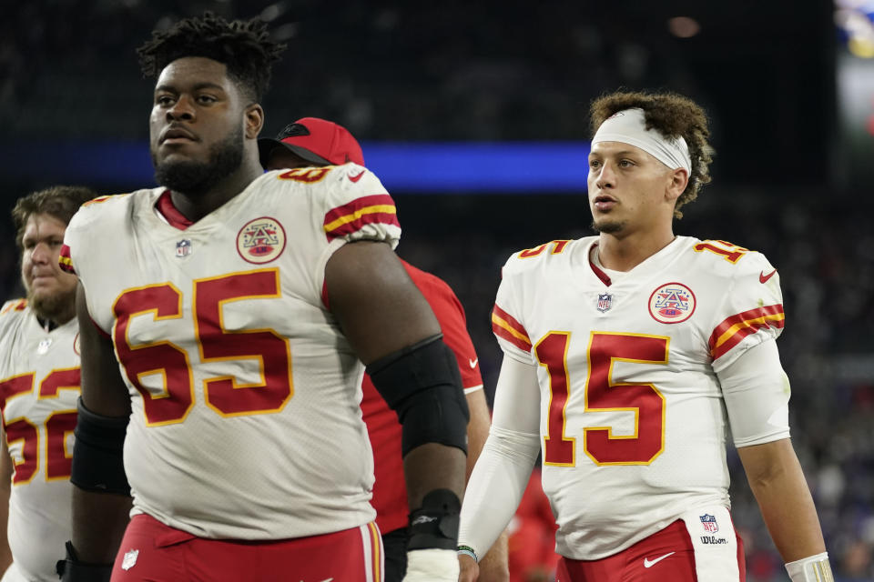 Kansas City Chiefs quarterback Patrick Mahomes (15) walks off the field after an NFL football game against the Baltimore Ravens, Sunday, Sept. 19, 2021, in Baltimore. Baltimore won 36-35. (AP Photo/Julio Cortez)