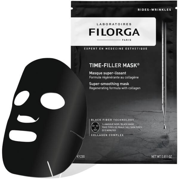 """<p>Drenched in FILORGA's best-selling TIME-FILLER formula, this new black fibremask is made from burnt Japanese Oakwood (thus rich in activated charcoal) andisalso plumped full with collagen and active lifting ingredients to smooth and regenerate from the first application.<br /><a rel=""""nofollow"""" href=""""http://www.marksandspencer.com/time-filler-mask-23g/p/p22511566?prevPage=plp&pdpredirect"""">Buy here</a> </p>"""
