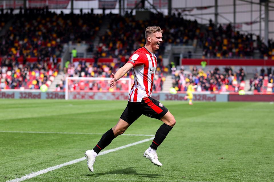 Forss celebrates the winner that sends Brentford to WembleyGetty Images