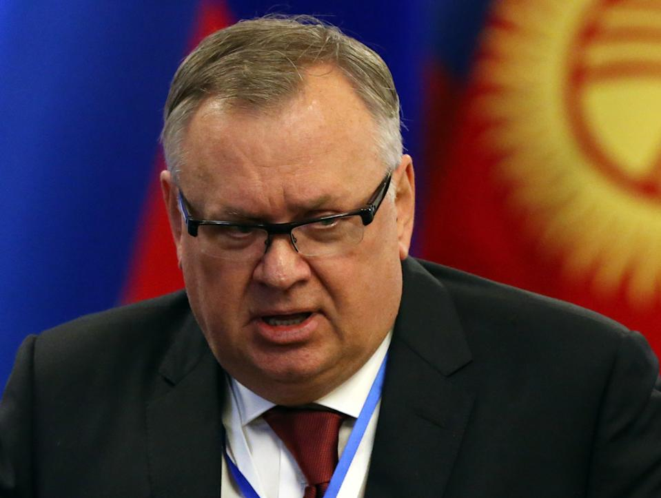 BISHKEK, KYRGYZSTAN - MARCH, 28 (RUSSIA OUT) Russian businessman, VTB Group CEO Andrey Kostin attends Russian-Kyrgyz economic conference in Bishkek, Kyrgyzstan, March,28,2019. Putin is having a one-day state visit to Kyrgyz Republic. (Photo by Mikhail Svetlov/Getty Images)