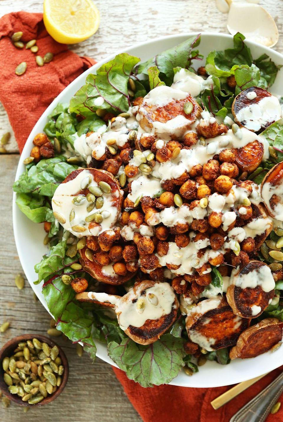 """<p>This easy, 3-ingredient tahini dressing helps bring the spiced chickpeas and roasted sweet potatoes together for a delicious fall salad. </p><p><strong>Get the recipe at <a href=""""https://minimalistbaker.com/roasted-sweet-potato-chickpea-salad/"""" rel=""""nofollow noopener"""" target=""""_blank"""" data-ylk=""""slk:Minimalist Baker"""" class=""""link rapid-noclick-resp"""">Minimalist Baker</a>. </strong></p><p><a class=""""link rapid-noclick-resp"""" href=""""https://go.redirectingat.com?id=74968X1596630&url=https%3A%2F%2Fwww.walmart.com%2Fsearch%2F%3Fquery%3Dmeasuring%2Bspoons&sref=https%3A%2F%2Fwww.thepioneerwoman.com%2Ffood-cooking%2Fmeals-menus%2Fg36806222%2Ffall-salad-recipes%2F"""" rel=""""nofollow noopener"""" target=""""_blank"""" data-ylk=""""slk:SHOP MEASURING SPOONS"""">SHOP MEASURING SPOONS</a></p>"""