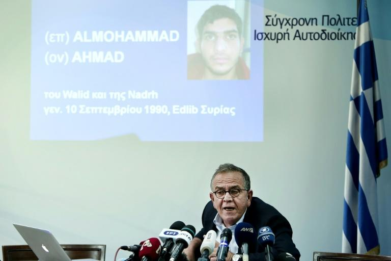 Greek interior ministry official Yiannis Mouzalas, pictured November 15, 2015 in Athens, said a passport found at the scene of attacks in Paris was issued to mad alMohammad, an asylum seeker who had taken the migrants' route through the Balkans