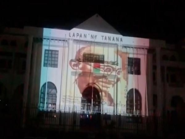 Town Hall building in Madagascar's capital Antananarivo lit up with a special projection of the portrait of Mahatma Gandhi.