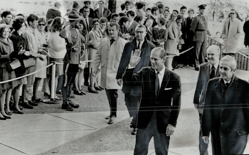 The Duke of Edinburgh during a tour of Canada in 1969 - Credit: Boris Spremo/Toronto Star via Getty Images