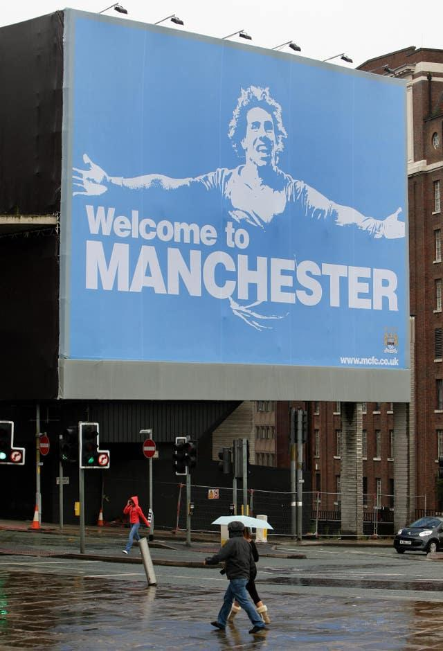 City paid for a provocative billboard after poaching Carlos Tevez from arch-rivals Manchester United