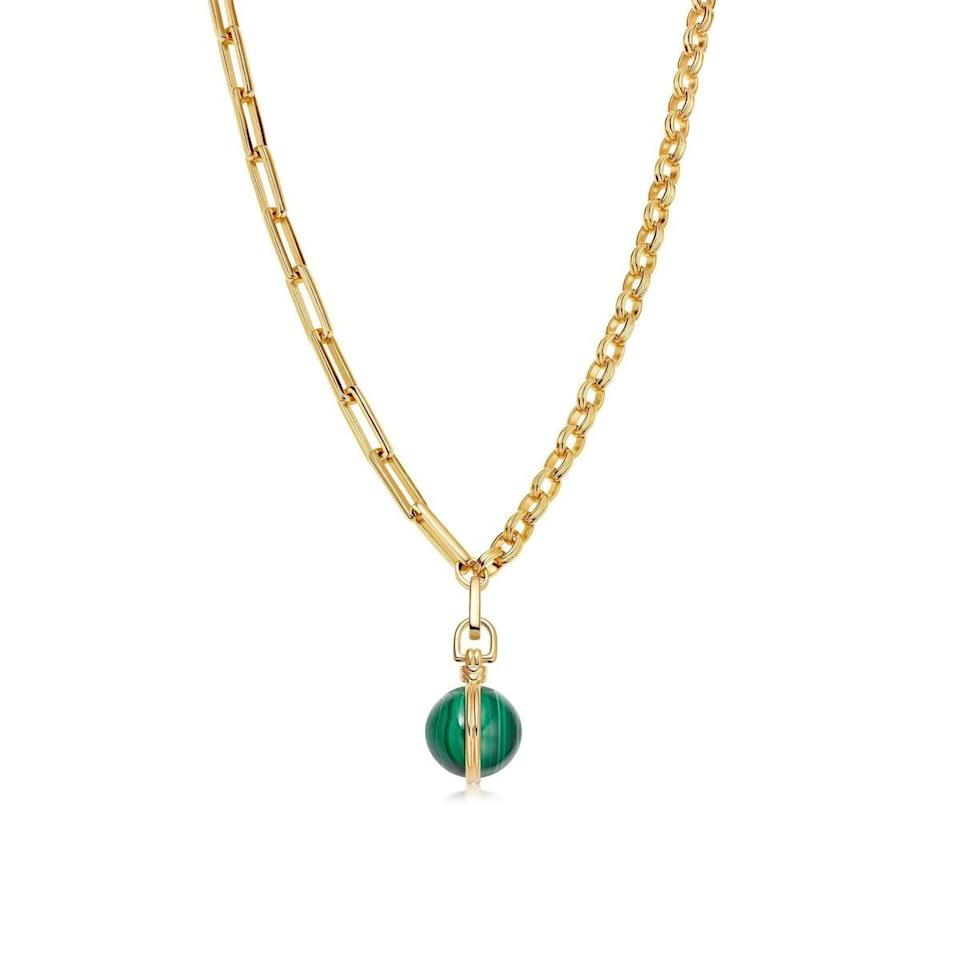 <p>This small, gold, deconstructed <span>Axiom Malachite Pendant Chain Necklace</span> ($385) has vintage vibes and will keep your hands occupied during the most stressful times.</p>