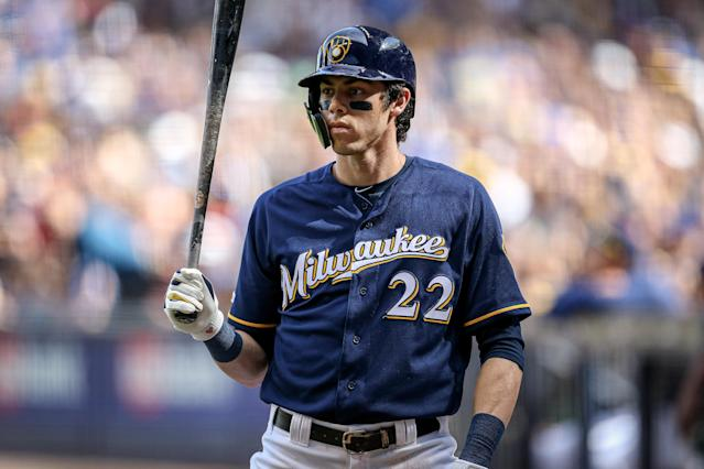"""<a class=""""link rapid-noclick-resp"""" href=""""/mlb/players/9320/"""" data-ylk=""""slk:Christian Yelich"""">Christian Yelich</a> has been nearly unstoppable this season, and June was no different. (Photo by Dylan Buell/Getty Images)"""
