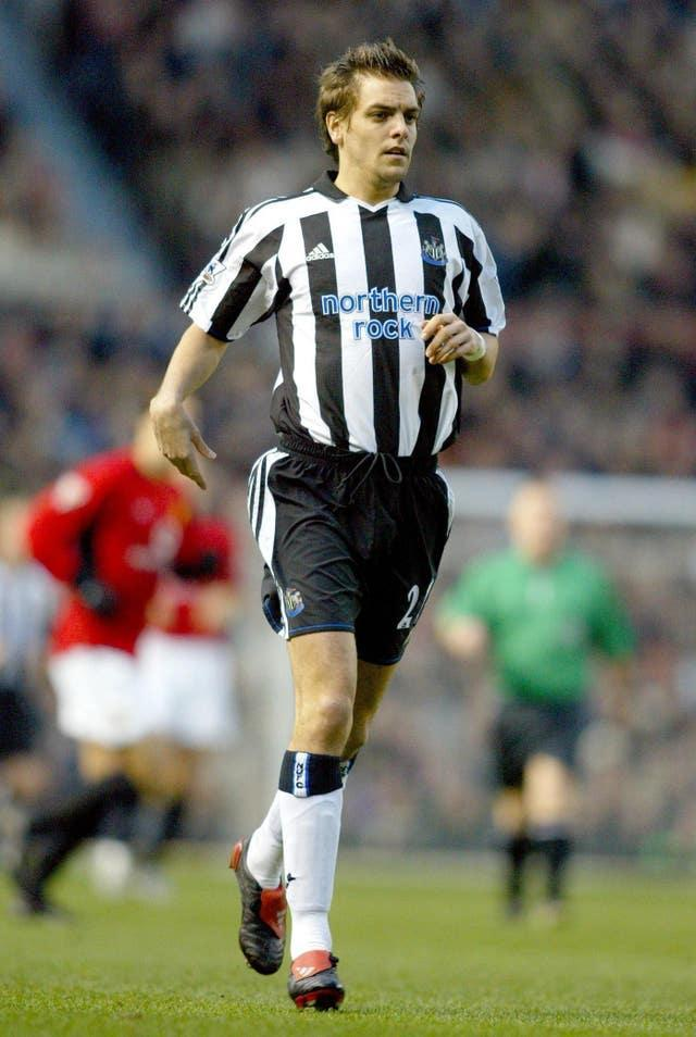 Newcastle's Jonathan Woodgate in action against Manchester United
