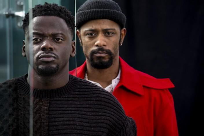 """WEST HOLLYWOOD, CA - FEBRUARY 01: Actors Daniel Kaluuya and LaKieth Stanfield are photographed in promotion of the upcoming film, """"Judas and the Black Messiah,"""" on the rooftop, of the London Hotel, in West Hollywood, CA, Monday, Feb. 1, 2021. Stanfield portrays William O'Neal, who worked as a FBI informant infiltrating the Illinois Black Panther Party and spying on the charismatic leader Chairman Fred Hampton, played by Kaluuya. (Jay L. Clendenin / Los Angeles Times)"""