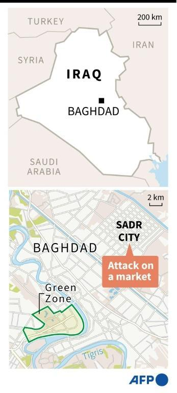 Map locating Sadr city in Baghdad, Iraq, where a fatal explosion hit a market