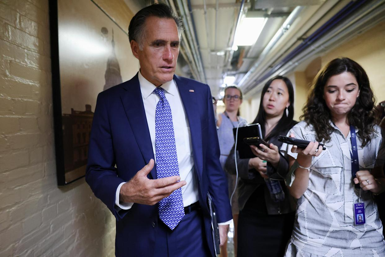 U.S. Senator Mitt Romney (R-UT) departs after attending a bipartisan work group meeting on an infrastructure bill at the U.S. Capitol in Washington on June 8, 2021. (Evelyn Hockstein/Reuters)