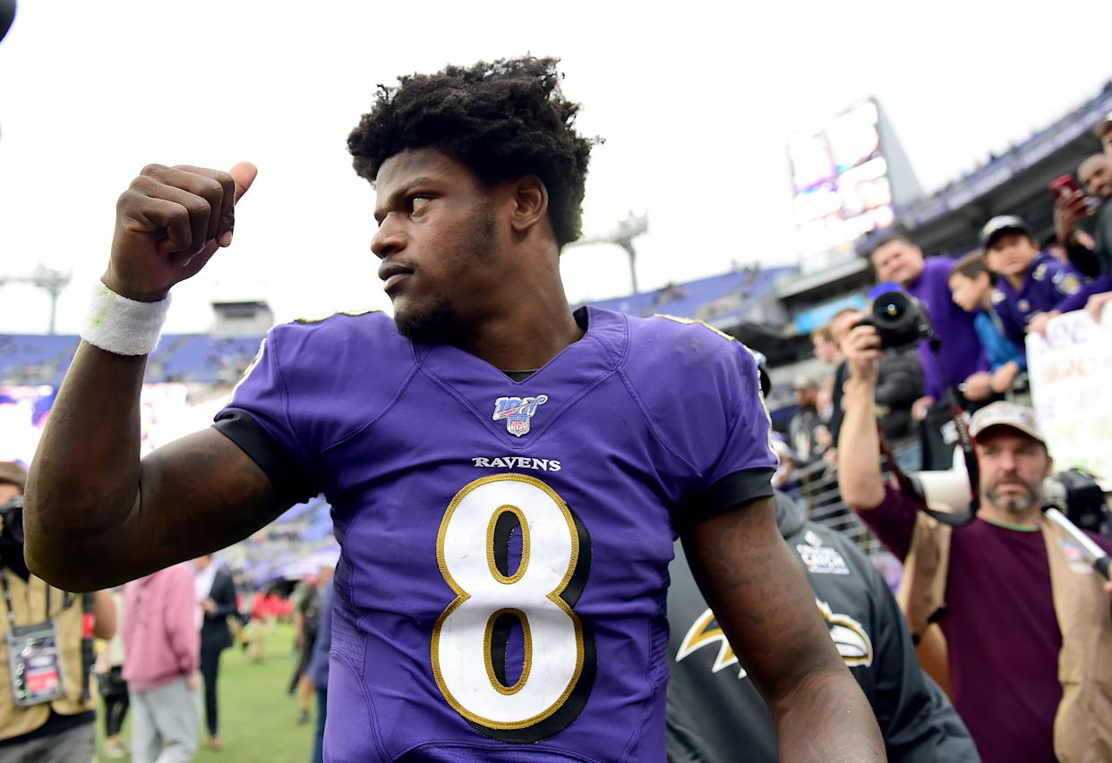 Lamar Jackson's performance with his arm and legs Sunday marked a first in the Super Bowl era. (Getty)