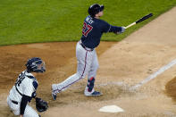 Atlanta Braves Austin Riley, right, and New York Yankees catcher Gary Sanchez watch Riley's ninth-inning solo home run in a baseball game Wednesday, April 21, 2021, at Yankee Stadium in New York. The Braves won 4-1. (AP Photo/Kathy Willens)