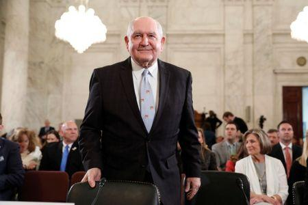 Secretary of Agriculture nominee Sonny Perdue arrives at his confirmation hearing before the Senate Agriculture Committee on Capitol Hill