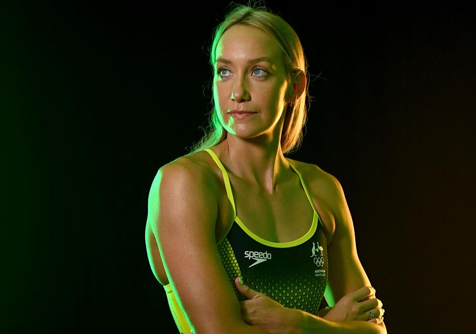 CAIRNS, AUSTRALIA - JULY 16: In this handout image provided by Swimming Australia Madi Wilson poses during an Australia Dolphins Tokyo 2020 Olympic Games Swimming Squad Portrait Session on July 16, 2021 in Cairns, Australia. (Photo by Delly Carr/Swimming Australia via Getty Images)
