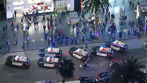 PHOTO: A high-speed car chase on Dec. 19, 2019 with the LAPD ended outside a Hollywood theater sending moviegoers running. (KABC)