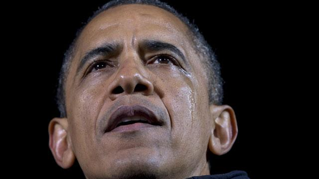 Tearful Obama Credits Staff