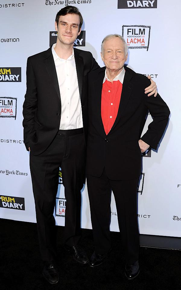 """Cooper Hefner and <a href=""""http://movies.yahoo.com/movie/contributor/1800321451"""">Hugh Hefner</a> at the Los Angeles premiere of <a href=""""http://movies.yahoo.com/movie/1810077951/info"""">The Rum Diary</a> on October 13, 2011."""