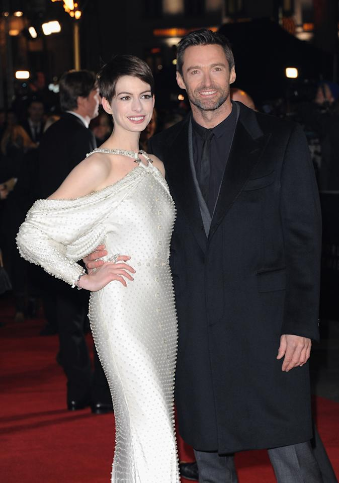 "LONDON, ENGLAND - DECEMBER 05:  Actors Anne Hathaway and Hugh Jackman attend the ""Les Miserables"" World Premiere at the Odeon Leicester Square on December 5, 2012 in London, England.  (Photo by Stuart Wilson/Getty Images)"