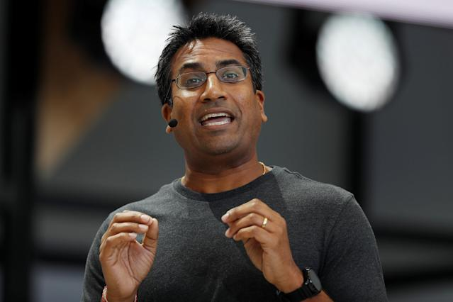 Rishi Chandra, vice president of product management and general manager of home products, speaks on stage during the annual Google I/O developers conference in San Jose, California, U.S., May 17, 2017. REUTERS/Stephen Lam