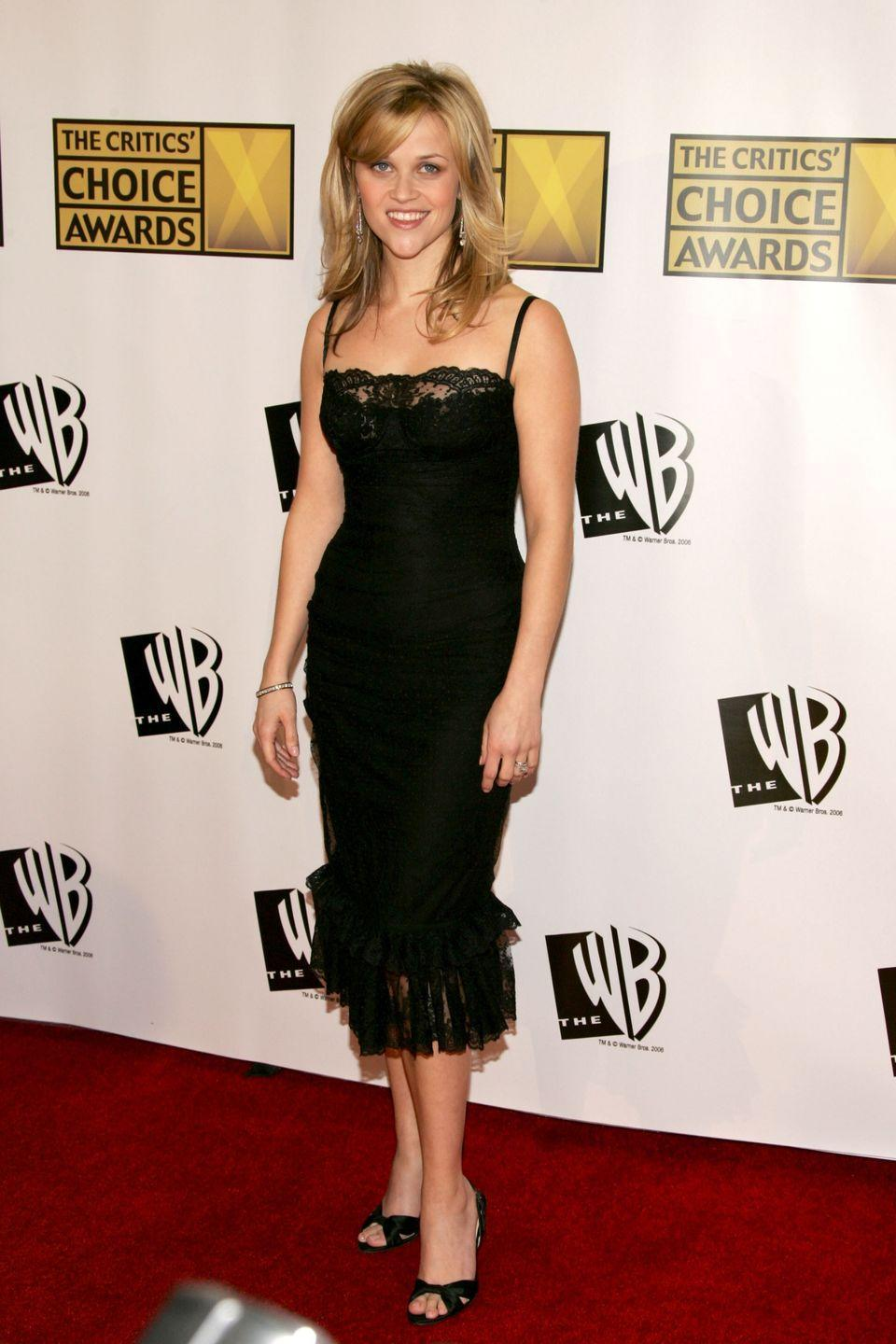 <p>Witherspoon tends to keep it simple on the red carpet, a slinky lace dress did the trick for the 2006 Critics Choice Awards. </p>