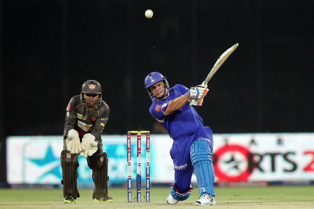 Brad Hodge of Rajasthan Royals hits over the top for six during the eliminator match of the 2013 Pepsi Indian Premier League between The Rajasthan Royals and the Sunrisers Hyderabad held at the Feroz Shah Kotla Stadium, Delhi on the 22nd May 2013. (BCCI)