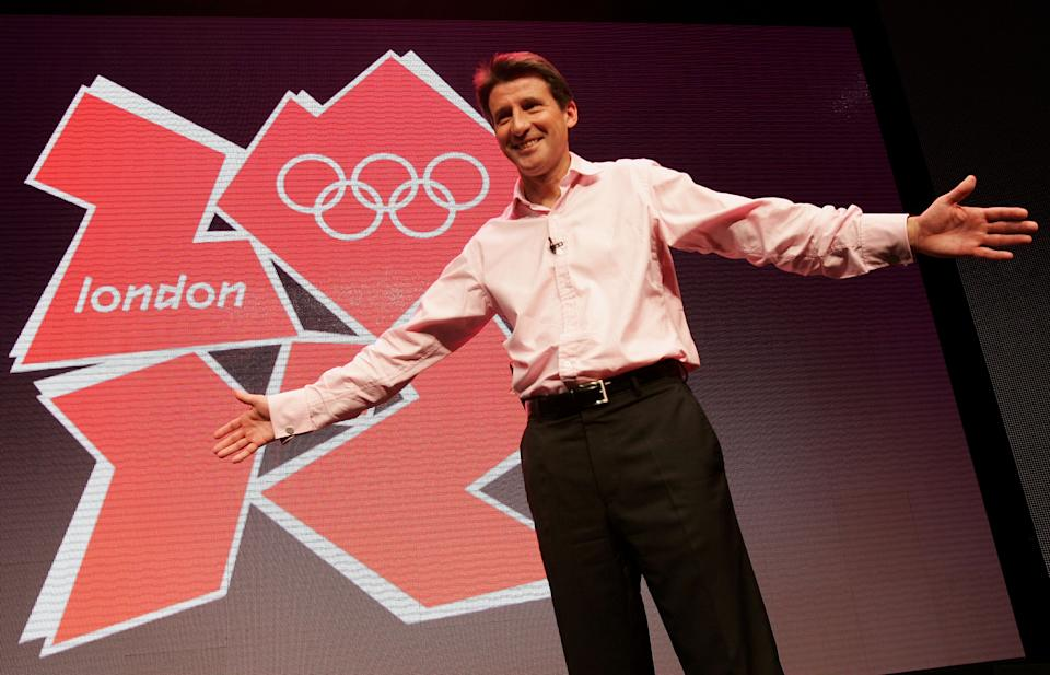 LONDON - JUNE 04:  Lord Sebastian Coe unveils the London 2012 Olympics emblem during the press launch of the 2012 Olympic and Paralympic brand and vision at the Roundhouse on June 4, 2007 in London, England. The new Olympic emblem is based on the number 2012, the year of the Games, and includes the Olympic Rings, one of the world's most recognised brands, and the word 'London', the world's most diverse city. The same 2012 images, with the Paralympic agitos, symbolises the Paralympic Games. (Photo by Daniel Berehulak/Getty Images)
