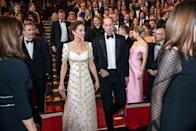 """<p>The Duke and Duchess of Cambridge are the only people who could bring everyone at an awards show to their feet. As <a href=""""https://www.harpersbazaar.com/celebrity/latest/a26677723/why-royals-enter-rooms-based-on-rank/"""" rel=""""nofollow noopener"""" target=""""_blank"""" data-ylk=""""slk:protocol stands"""" class=""""link rapid-noclick-resp"""">protocol stands</a>, the royal couple must be the last to arrive and require a standing ovation when they enter the room. </p>"""