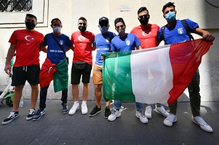 Turkey and Italy fans before the Euro curtain-raiser at Rome's Stadio Olimpico in front of a crowd of 16,000