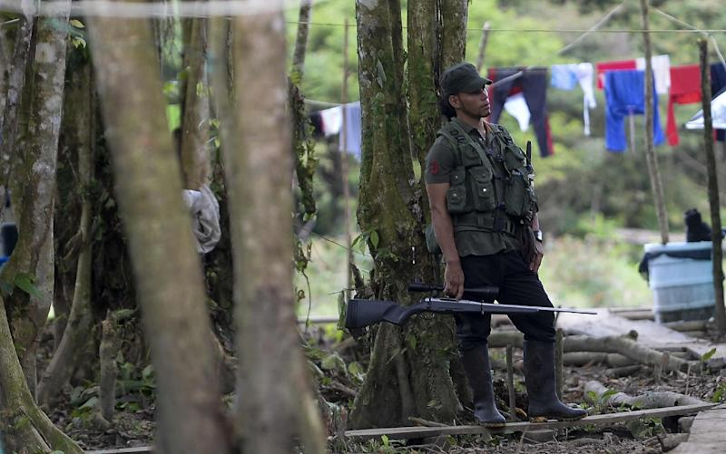 A FARC fighter guards a checkpoint in the Vegaez municipality, on January 1, 2017 (AFP Photo/RAUL ARBOLEDA)