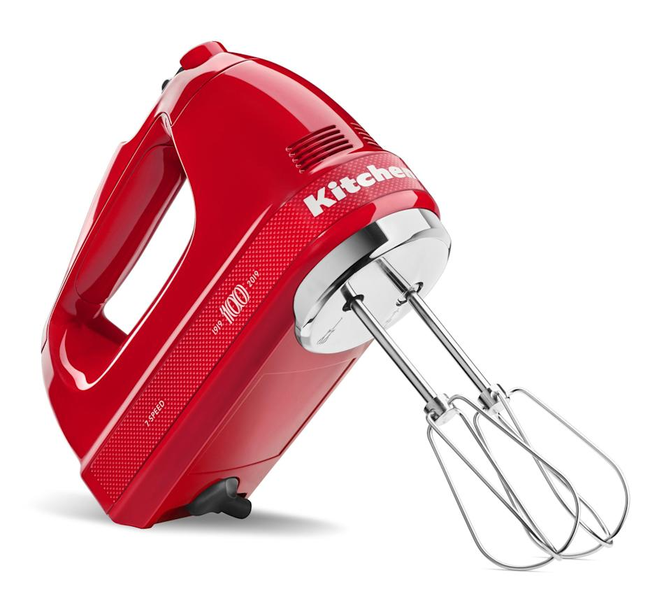 """<p><strong>KitchenAid</strong></p><p>amazon.com</p><p><strong>$119.99</strong></p><p><a href=""""https://www.amazon.com/dp/B07P8GCTWB?tag=syn-yahoo-20&ascsubtag=%5Bartid%7C1782.g.3831%5Bsrc%7Cyahoo-us"""" rel=""""nofollow noopener"""" target=""""_blank"""" data-ylk=""""slk:BUY NOW"""" class=""""link rapid-noclick-resp"""">BUY NOW</a></p><p>To celebrate its 100th anniversary, KitchenAid created a bright red Queen of Hearts collection. Your favorite cook will appreciate having one of the limited-edition pieces in their kitchen!</p>"""