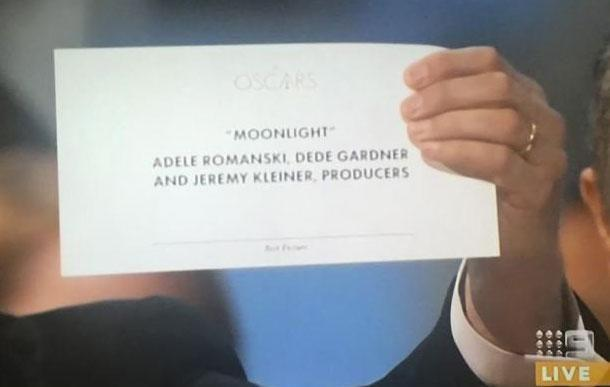 Moonlight was the actual winner. Source: Channel Nine