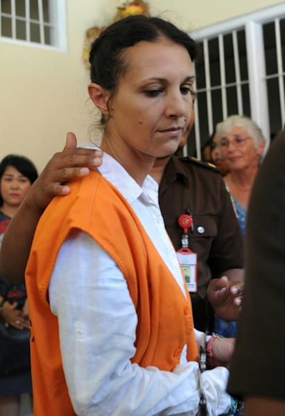 Australian Sara Connor walks towards court for her trial in Denpasar on Indonesia's resort island of Bali on March 13, 2017