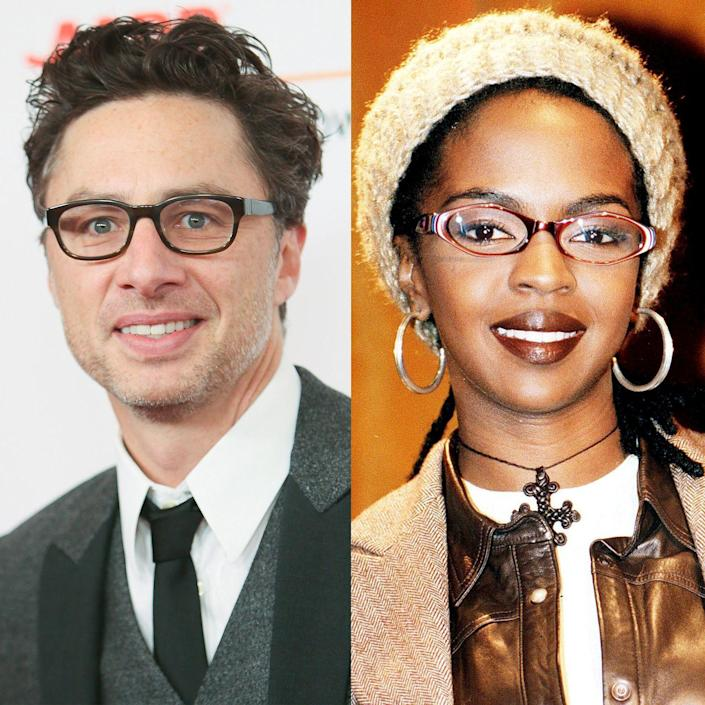 """<p>In 2018, Zach Braff stunned the Twittersphere when he tweeted (in response to a tweet from Paris Hilton herself) that <a href=""""https://twitter.com/zachbraff/status/1013816354028257280?lang=en"""" rel=""""nofollow noopener"""" target=""""_blank"""" data-ylk=""""slk:Lauryn Hill attended his bar mitzvah"""" class=""""link rapid-noclick-resp"""">Lauryn Hill attended his bar mitzvah</a>. Fans couldn't quite figure out the connection—she's a neo-soul legend, and he's sitcom gold—but then it was revealed that Braff and Hill went to the same New Jersey high school as kids!</p>"""