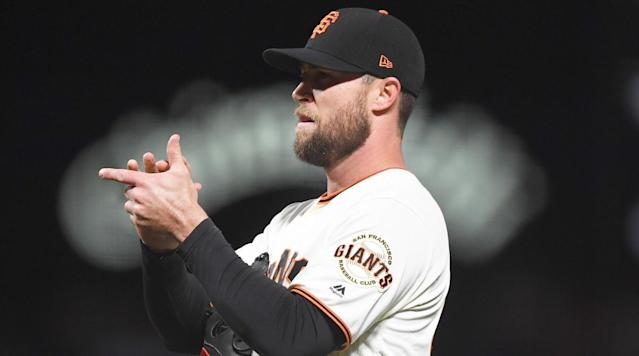 SAN FRANCISCO (AP) — San Francisco Giants closer Hunter Strickland apologized to his team, fans, and said he'd consider anger management counseling three days after injuring his hand punching a door in frustration after a blown save against Miami.