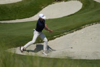 Will Zalatoris hits from the bunker on the 13th hole during a practice round at the PGA Championship golf tournament on the Ocean Course Tuesday, May 18, 2021, in Kiawah Island, S.C. (AP Photo/Matt York)