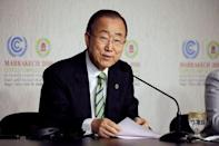 United Nations Secretary-General Ban Ki-moon speaks at the UN World Climate Change Conference 2016 (COP22) in Marrakech, Morocco, November 15, 2016. REUTERS/Youssef Boudlal